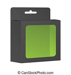 em branco, pretas, produto, pacote, caixa, com, janela., vetorial