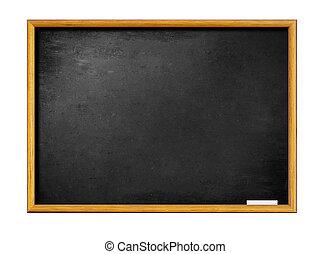 em branco, pretas, tábua, com, frame madeira, e, pedaço, de,...