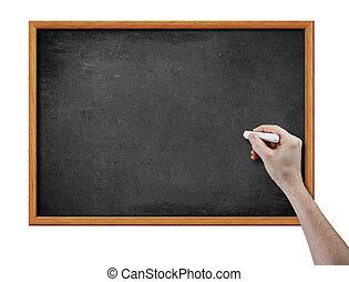 em branco, pretas, tábua, e, mão, com, pedaço, de, giz