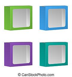 em branco, produto, pacote, caixa, com, janela., set., vetorial, isolado, branco, fundo