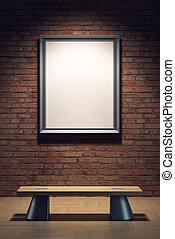 em branco, quadro, em, a, galeria