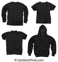 em branco, roupa preta