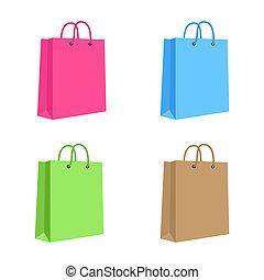 em branco, saco shopping papel, com, corda, handles., set., cor-de-rosa, azul, verde, brown., isolado, vetorial