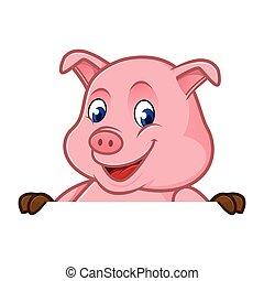 em branco, segurando, sinal, caricatura, porca