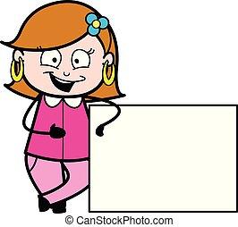 em branco, senhora, tábua, caricatura