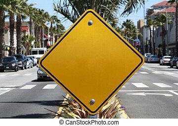 em branco, sinal amarelo