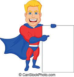 em branco, superhero, caricatura, sinal