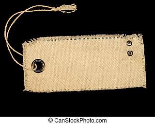 em branco, têxtil, tag, isolado