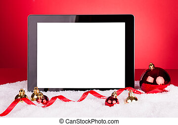 em branco, tablete digital, com, baubles natal