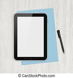 em branco, tablete digital, ligado, um, branca, escrivaninha