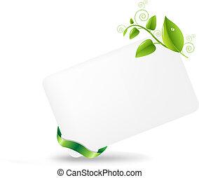 em branco, tag presente, com, folhas