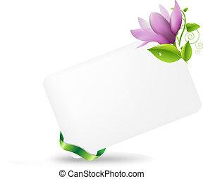 em branco, tag presente, com, magnólia