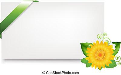 em branco, tag presente, com, margarida