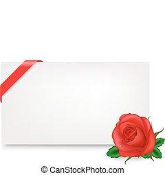 em branco, tag presente, com, rosa
