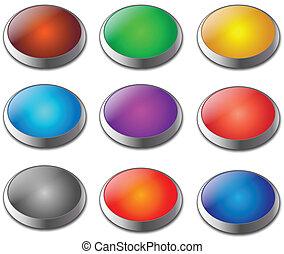 em branco, teia, botões