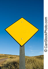 em branco, tráfego, sinal amarelo