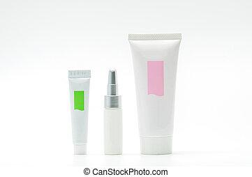 em branco, tubo, jogo, cosmético, etiqueta