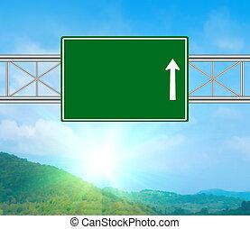 em branco, verde, estrada, sinal