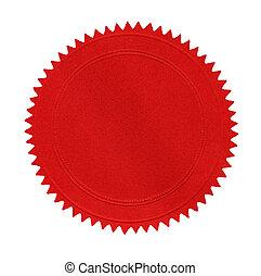 em branco, vermelho, selo
