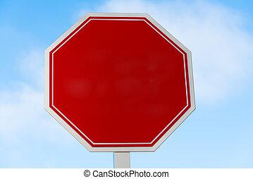em branco, vermelho, sinal parada