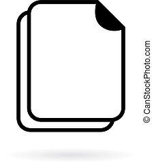 em branco, vetorial, documento, ícone
