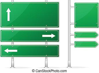 em branco, vetorial, verde, sinal estrada