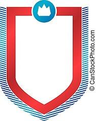 em branco, vindima, emblema, com, espaço cópia, vetorial, heraldic, desenho, proteção, shield.