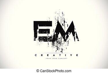 em, e, illustration., m, colori, vettore, disegno, spazzola, lettera, grunge, logotipo, nero