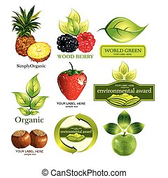 em, ecologisch, set, vector, vruchten