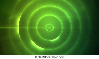 em movimento, círculo, de, intermitente, verde, lig
