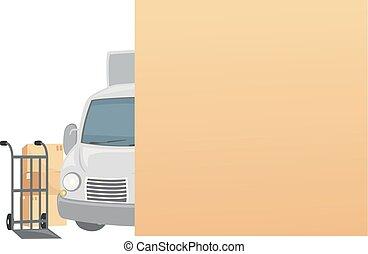 em movimento, caixas, caminhão, tábua, ilustração