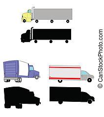 em movimento, caminhões