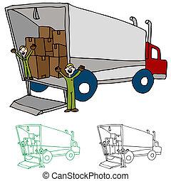 em movimento, companhia, caminhão