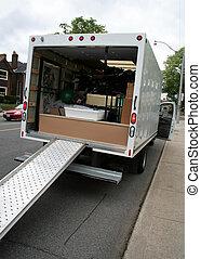 em movimento, rua, caminhão