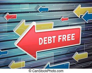 em movimento, seta vermelha, de, dívida, livre, palavras