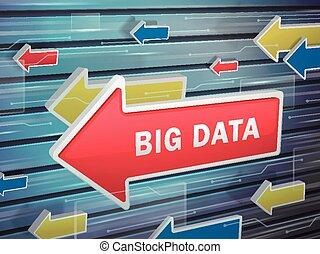 em movimento, seta vermelha, de, grande, dados, palavras