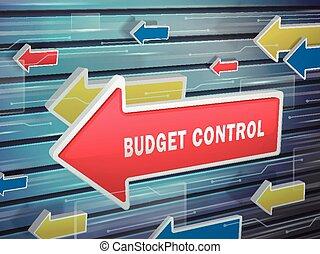 em movimento, seta vermelha, de, orçamento, controle, palavras
