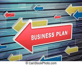 em movimento, seta vermelha, de, plano negócio, palavras