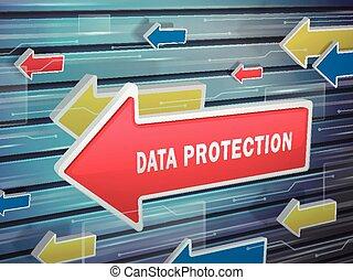em movimento, seta vermelha, de, proteção dados, palavras