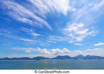 em movimento, sobre, nuvens, paisagem, oceânicos