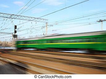 em movimento, trem