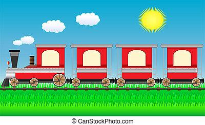 em movimento, trem, ligado, viagem, paisagem