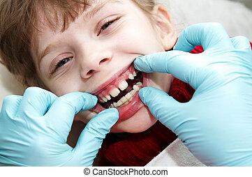 em, odontólogo, medic, ortodôntico, doutor, exame