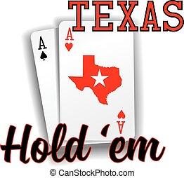 em, pook, aas, kaarten, houden, texas