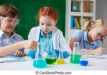 em, química, lição