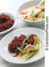 ema datshi with red rice, bhutanese cuisine