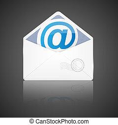 email., 封筒, ベクトル, 開いた, illustration.