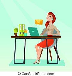 email., 発送, 女性ビジネス, 受け取ること, ∥あるいは∥