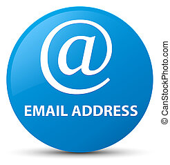 Email address cyan blue round button