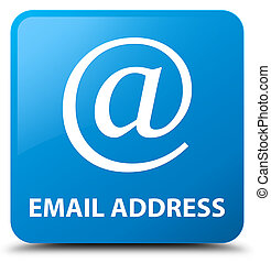 Email address cyan blue square button